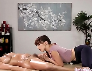 Lesbian masseuse licking hairy pussy