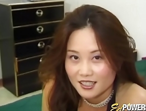 Sexy Asian babe has her crafty interracial triad sex