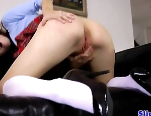 Teen schoolgirl pussyfucked at the end of one's tether UK senior