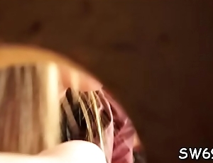 Chick reveals sexy booty at gloryhole taking a big load slime