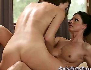 Cute masseuse queened by horny MILF