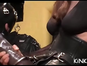Hot femdom action with stunning babe stroller serf on leash