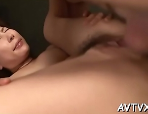 Oriental darling gives an electrifying jock sucking session