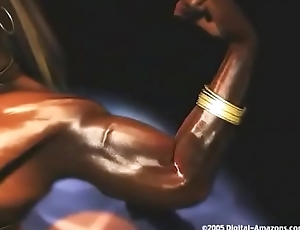 3D Ebony Bodybuilder Dances