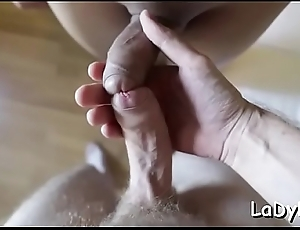 Dude pokes an get one's bearings ladyboy floozy and loot her tight asshole