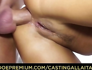 CASTING ALLA ITALIANA - Brunette Italian Barbara Devil enjoys double penetration in MMF action