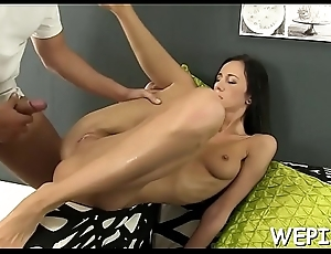 Chick gets her juicy cunt fucked with a toy after pissing