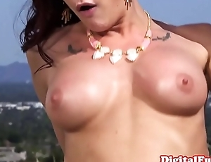 Order about glamour babe riding in alfresco threeway