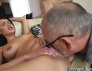 Latina gets old bushwa cum