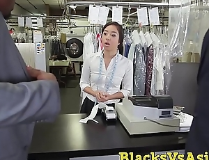 Tiny Japanese stunner ass hammered in BBC threesome