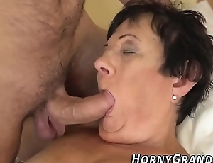 Grannies mouth spunked in