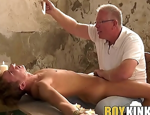 Mature maledom edging his roped down submissive