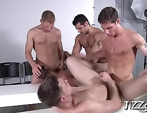 Males with large cocks fuck gay model in amazing group scenes