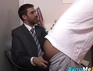 Mature daddy drills cute twink from behind in public bar