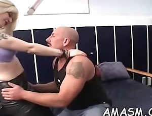 Sweethearts in female domination scenes smothering horny man