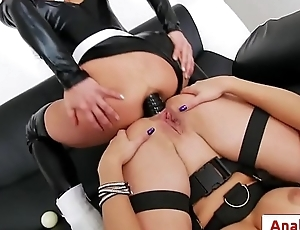 Sexy lesbians Alysa, Sheena Shaw share double sided black dildo anal style