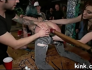 Bosomy sexy hot girl submits round punishment and anal slavery sex.