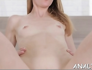 The tightness of sexy chicks drenched cunt is driving stud insane