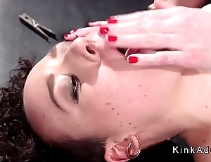 Babe in ropes fisted and anal fucked