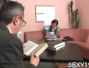 Chick needs to comply with aged teacher lustful demands