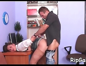 Slut cries from painful entertainment from loose anal banging