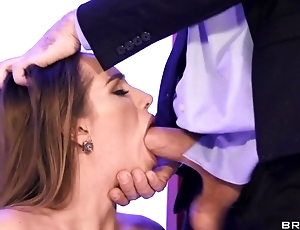 Hot wife in leather boots blows hubby in transmitted to office