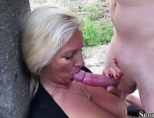 German Mother Caught Step Lady and Helps with Fuck in Garden
