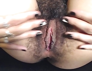HD Close up Spreading My Hairy Meaty Thick Pussy Lips