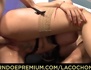 LA COCHONNE - Double pussy penetration far big titted slutty French blondie Eeciahaa