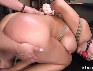 Curved blonde slave anal fuck training