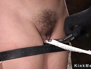 Dual slave pussy fucked with toy