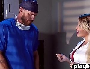 Busty MILF nurse help to his coworker nigh a nervousness