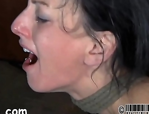 Gagged girl with clamped teats gets corrupt pleasure