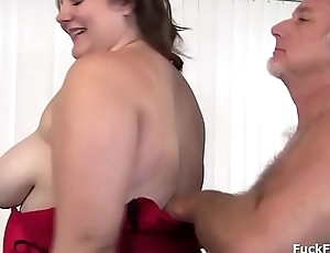 BBW slut gets a cumshot over her mouth and big tits