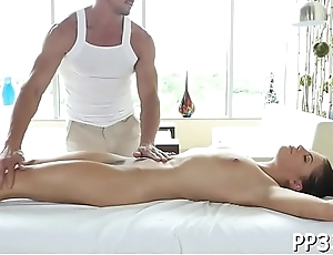 Babe is giving hunk a hard boner as this guy massages her