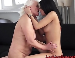 Granny loves to be queened by younger babe