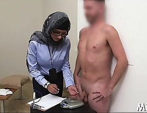 Dark and white dicks get jerked by a horny and busty arab hottie