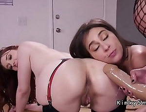 Anal lesbian threesome monster stap on