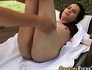 Teen creampied wide of padre