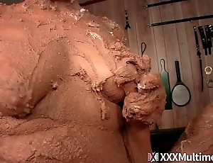Wet and Messy Pie Fight Fifi Foxx and Whitney Morgan Have a sexy naked Pie Fight